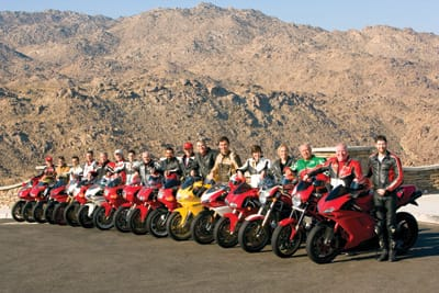 Ducati club members include (from left) Fabio Ceresa, Christopher Cross, Daniel Urrego, Ted Grossman, Wade McLendon, Dennis Cunningham, Matt DiPonio, Jim Cioffi, Brian Scott, Allen Bixen, David Christian, Allen Short, Meredith Watson, Christy Scott, Tom Roach, Kevin Gettmann, and Jordan Freeman.