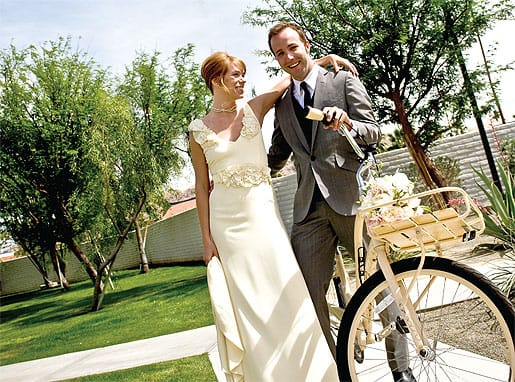 The couple borrowed a bike from the Ace Hotel & Swim Club, where overflow guests had rooms. Lesley's friend and up-and-coming designer, Kelly Austin, created her dress: www.kellyaustinlosangeles.com
