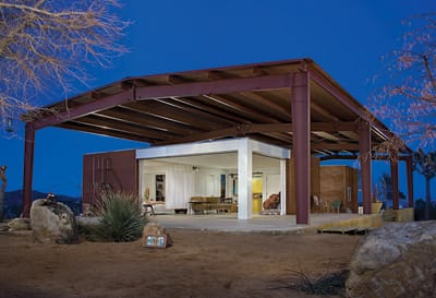 """PIONEERTOWN HOUSE - Lloyd Russell, architect for the """"green"""" house on Burns Canyon Road in Pioneertown, refers to his """"handmade modernism"""": sharp design and better, affordable construction."""