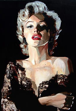 Artist and gallery owner Max von Wening paints portraits based on photographs, as this one of Marilyn Monroe.