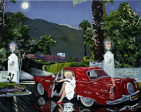 Artist Max von Wening often paints portraits of celebrities with a nod to the local scene, like this one of Marilyn Monroe in front of Melvyn's Restaurant & Lounge in Palm Springs.