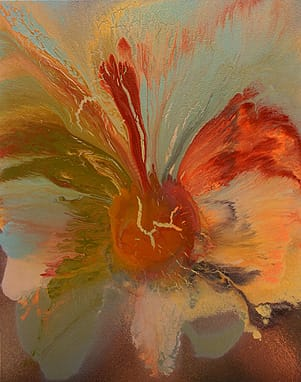 """Flower in Bloom,"" abstract acrylic on canvas by Max von Wening. His work can be seen at von Wening Art in The Gardens on El Paseo in Palm Desert."