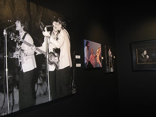 A wall inside Flashback Gallery featuring rock photography.
