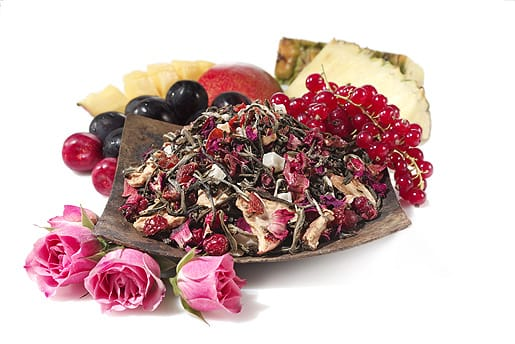 Youthberry is a ripe berry from the South American Açaí Palm. In this tea blend, the açaí berry is finely ground and carefully sifted into white tea tips and tropical fruit pieces to release a flood of vitamins and youthful energy in each enticing cup.