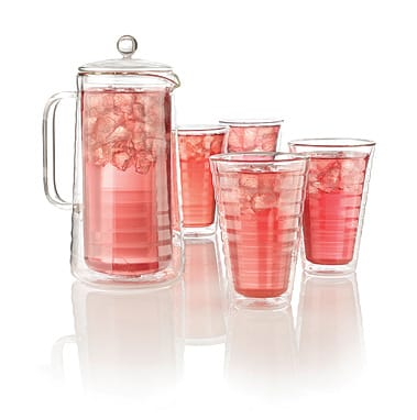 Delphina Glass Collection features double-wall construction that allows tea to stay warm or cold for up to two hours and prevents condensation from forming. This set is made of borosilicate glass, which is stronger and more heat resistant than traditional glassware.