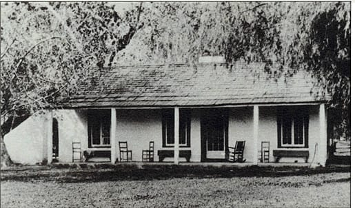 The McCallum family home as it looked at its original site. It is now headquarters of the Palm Springs Historical Society on South Palm Canyon Drive. Pearl had it moved there brick by brick in the 1950s.