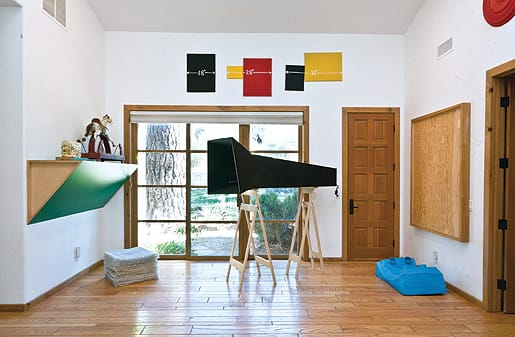 Works by Haim Stainbach, Oliver Herring, Mel Bochner, Joan Jonas, Sherrie Levine, and Peter Sorriano in the collection of David and Diane Waldman.
