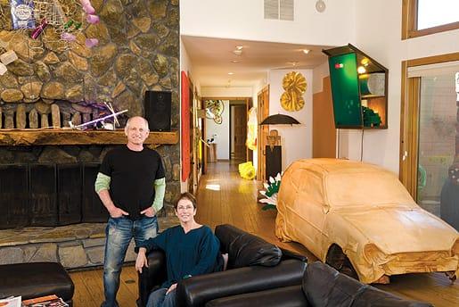 David and Diane Waldman with works by Michelle Lopez, Keith Haring, John Kessler, George Sugarman, James Hyde, Marisol Escobar, Lynda Benglis, and Robert Mangold.
