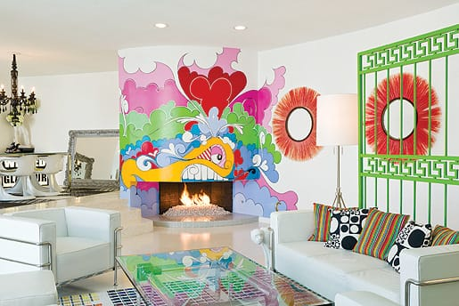 Minneapolis-based muralist Eric Inkala saturates his work with bright colors and obsessive detail, creating dynamic characters that transformed the living space of Molly Bondus and Wil Stiles, who also collect the artist's canvases, some of which hang in their hip Palm Springs boutique, Wil Stiles.