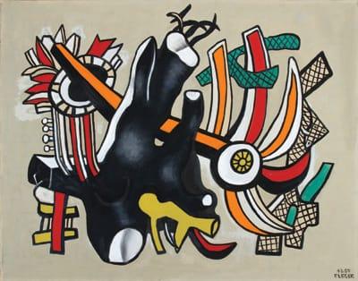 Fernand Léger, La racine noir et fragment d'objets (1943-1950), oil on canvas, 28.75 x 36.75 inches