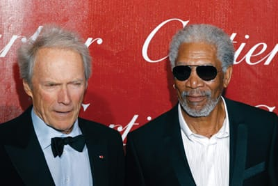 Clint Eastwood and Morgan Freeman share the spotlight on the red carpet in 2010. On stage, Eastwood presented Freeman with the Career Achievement Award (Actor).