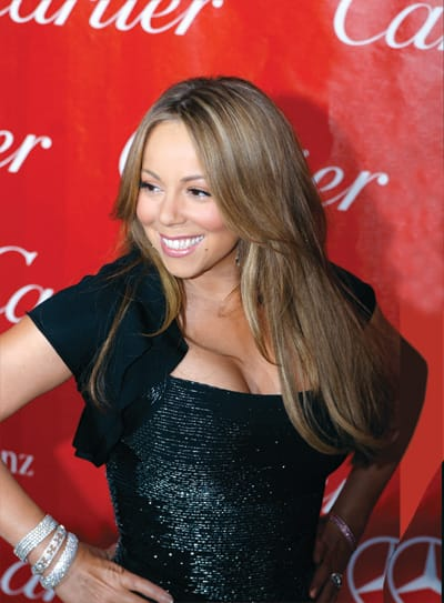 Mariah Carey, winner of the 2010 Palm Springs International Film Festival's Breakthrough Performance Award (for the film Push), arrives on the red carpet for the awards gala.