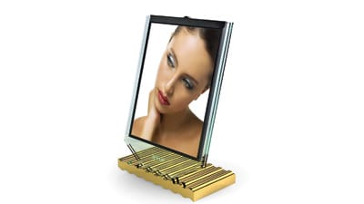 Gold-plated picture frame, part of Vladymir Rogov's Desk Architecture series.