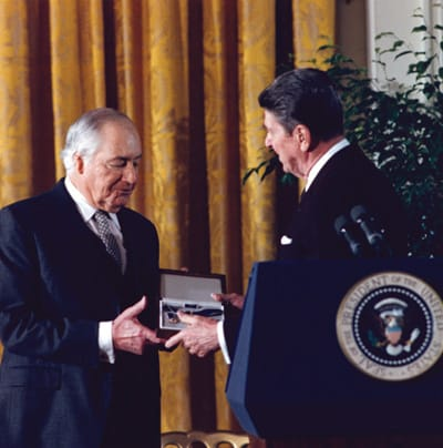 President Ronald Reagan presenting the Medal of Freedom to Walter Annenberg at the White House