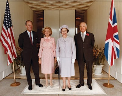 The Annenbergs with Prince Philip and Queen Elizabeth