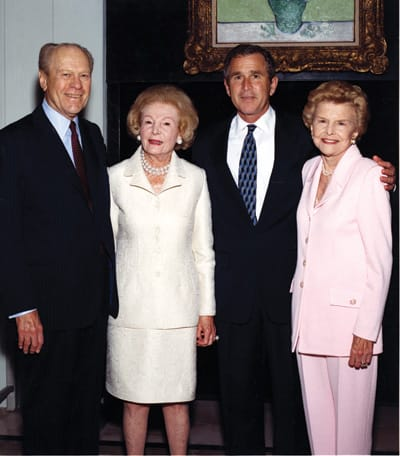Gerald Ford, Leonore Annenberg, George W. Bush, and Betty Ford