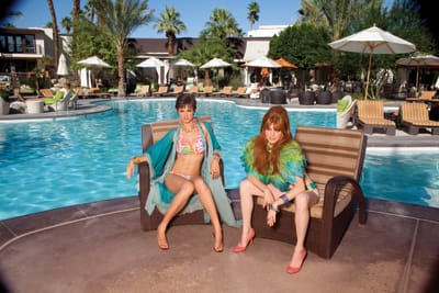 Bathing suit from Trina Turk, Palm Springs; coverup and shoes from a private collection; necklace from Kate Spade, Palm Desert; other jewelry from Route 66. Feather top by Christian Dior from Sequels; bathing suit from Trina Turk; shoes from Kate Spade; jewelry from Route 66.