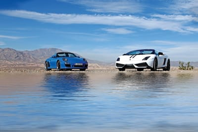 The Porsche Speedster (left) and Lamborghini Performante offer a lighter body and greater performance than their European-brand siblings.