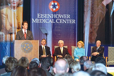 Joining him on stage were Eisenhower Medical Center President/CEO G. Aubrey Serfling, Eisenhower Board of Directors Chairman Harry M. Goldstein, Leonore Annenberg, and former Secretary of State George P. Shultz.