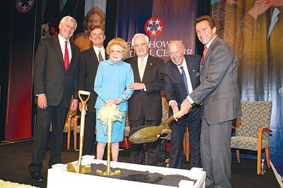Leonore Annenberg celebrated the January 2007 groundbreaking of the pavilion with (from left) Sen. John Danforth, Eisenhower Medical Center President/CEO G. Aubrey Serfling, Eisenhower Board of Directors Chairman Harry M. Goldstein, former Secretary of State George P. Shultz, and Gov. Arnold Schwarzenegger.
