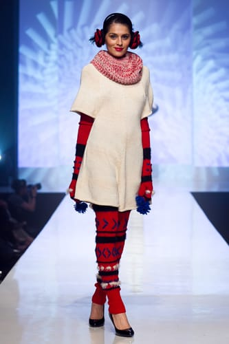 The inspiration for Adelle Louise Burda's knitwear collection is the traditional rural attire worn in the former Russian Empire.