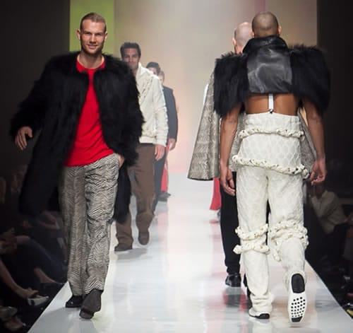 Originally from Zimbabwe, Pam Mbanga has created a striking menswear collection, pairing British tailoring with African textures and prints