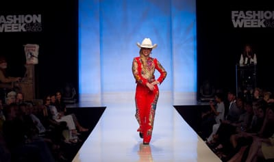 This fashion retrospective features Nashville couturier Manuel's collection of rhinestone jackets of the 50 states, garments from the 1950s Desert Circus (courtesy of Palm Springs Historical Society), and midcentury Western wear.