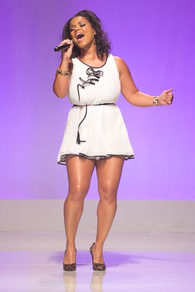 Kimberly Locke, of American Idol®, performs at the Project Runway Show