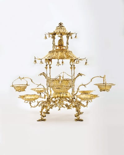 Epergne, 1761, by Thomas Pitts I. Silver gilt.