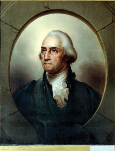 """Portrait of George Washington, 1859, by Rembrandt Peale. Oil on canvas, inscribed and dated """"Philadelphia June 1859"""" on label."""