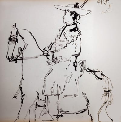 """Picador on Horseback, 1959, by Pablo Picasso. Brush and ink on paper; signed, dated, and inscribed """"Picasso 14-7-59 III"""" in upper right corner."""