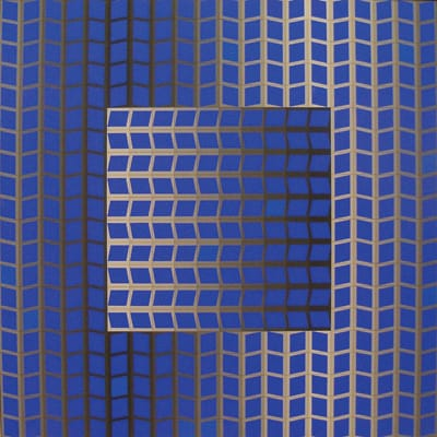 """Victor Vasarely, """"Zett-Kek"""" (1966), tempera on canvas, collection of Palm Springs Art Museum, gift of Mr. and Mrs. William H. Wise"""