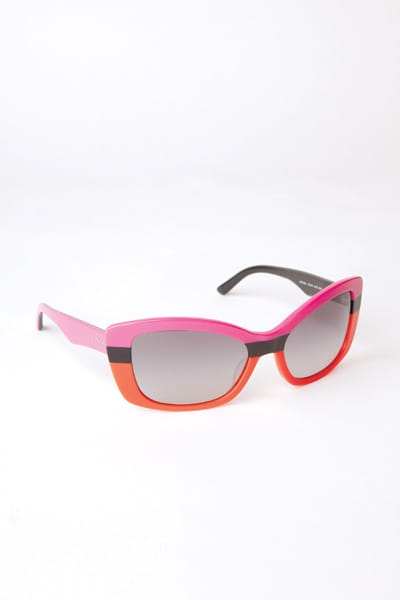 These Prada frames accentuate the colors of summer 2011: orange and pink. $225. Saks Fifth Avenue, The Gardens on El Paseo, Palm Desert.
