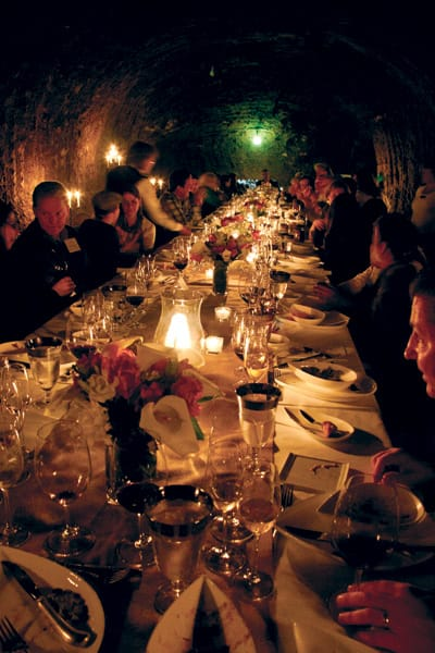 Camp Schramsberg begins with dinner in the wine caves. Winery owner Hugh Davies and winemakers Keith Hock and Sean Thompson join campers for a meal prepared by chef and camp instructor Holly Peterson.