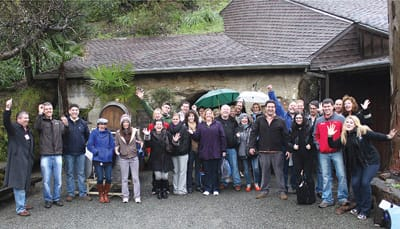 Campers end their visit to Schramsberg Vineyards in Calistoga with a group photo.