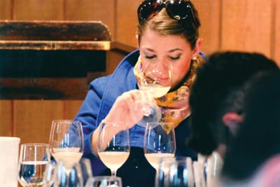 In blending sessions, campers compare unfinished wines.