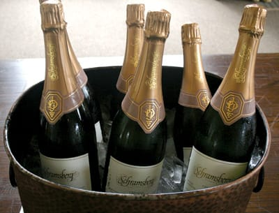Schramsberg 2004 Extra Brut awaits campers at a three-course lunch at Meadowood Napa Valley.