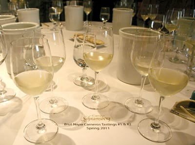 Part of the blending education involves comparing unfinished chardonnays from stainless steel tanks and barrels.