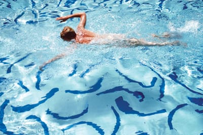 "Michael Childers' ""Hockney Swimmer"" (1978), color photograph"