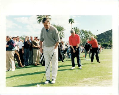 Presidents Bush, Clinton and Ford at the Bob Hope Classic in 1985.