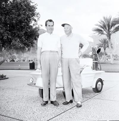 Former Presidents Richard Nixon and Dwight Eisenhower.