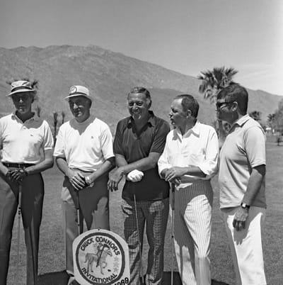 Stars including Jimmy Stewart (left), Gary Morton (dark shirt), and Frank Sinatra (next to Morton) teamed up with amateur golfers.