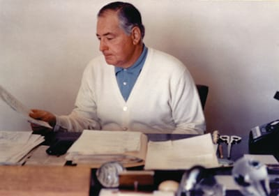 Leonore and Walter Annenberg (shown at his desk in 1968) maintained meticulous records, not only in business and household operations, but also in personal correspondence. Sunnylands archives include thousands of letters, including 2,640 between the Annenbergs and 10 U.S. presidents.