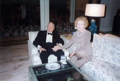 Leonore and Walter Annenberg in their living room, New Years Eve, 1998.