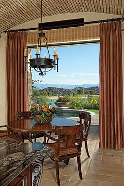 Breakfast always looks sunny side up with the nook's view of the back yard and the Santa Rosa Mountains.