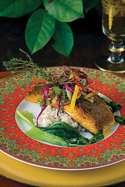 Seared wild salmon with gingered raw slaw and Thai red curry sauce. Courtesy Jennifer Johnson/Jennifer's Kitchen.