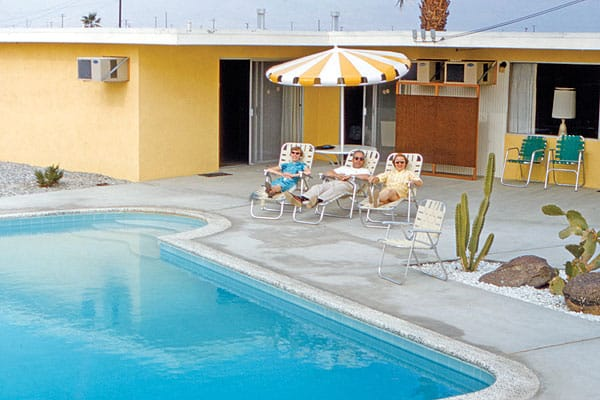 """""""I love that these loungers dressed to match the back yard. The lady in yellow matches the house, the lady in turquoise the pool, and the gent between them matches everything else."""""""