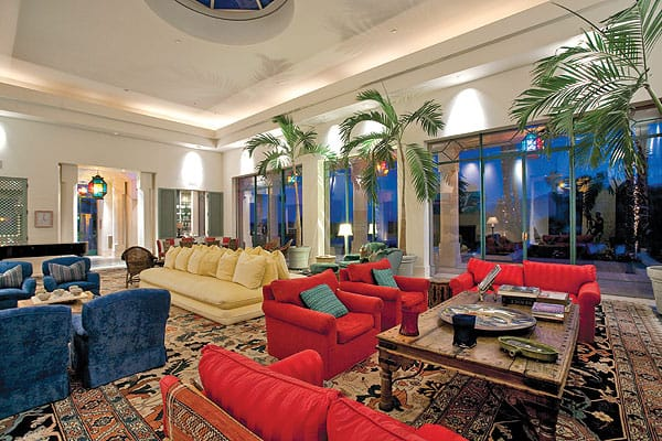 Merv Griffin favored open spaces with intimate seating areas and a Moroccan vibe — an aesthetic that Waldo Fernandez, interior designer to the stars, created with authentic furnishings and objects.