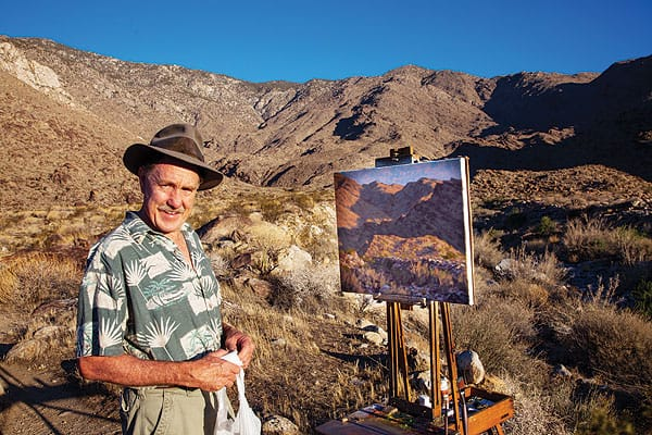 Jim, who hikes with his German shepherd dog, Greta, has an eye not only for the sun's light cast on the mountains, but also for the locations in the Cahuilla landscape that hold rich Native American stories, legends, and traditions.