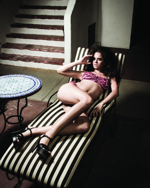 Ms. GiGi rose mesh frill bikini by Jules Moore, $225. Yves Saint Laurent Tribute Platform Sandals, $850, Saks Fifth Avenue.